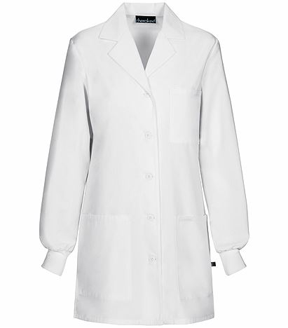 """Cherokee Women's 32"""" White Lab Coat With Knit Cuffs-1362"""
