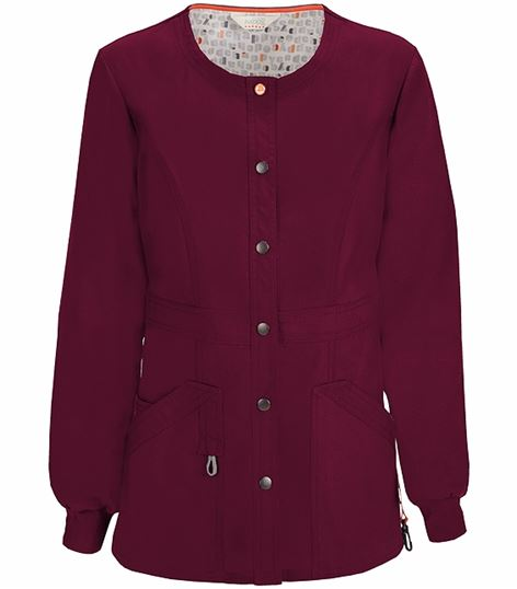 Code Happy Women's Snap Front Warm-Up Scrub Jacket-46300A