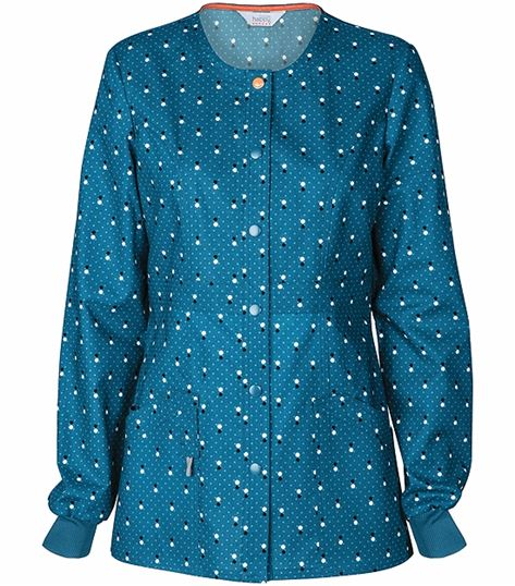 Code Happy Women's Snap Front Warm-Up Scrub Jacket-46302CA