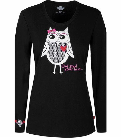 Dickies EDS Women's Owl Long Sleeve Underscrub Knit Tee-82739