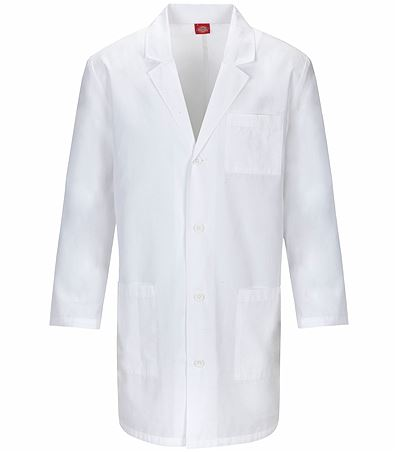 "Dickies EDS 37"" Unisex White Antimicrobial Lab Coat-83402A"