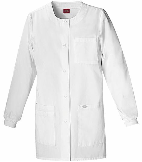 "Dickies EDS Women's 32"" White Lab Coat With Knit Cuffs-84403"