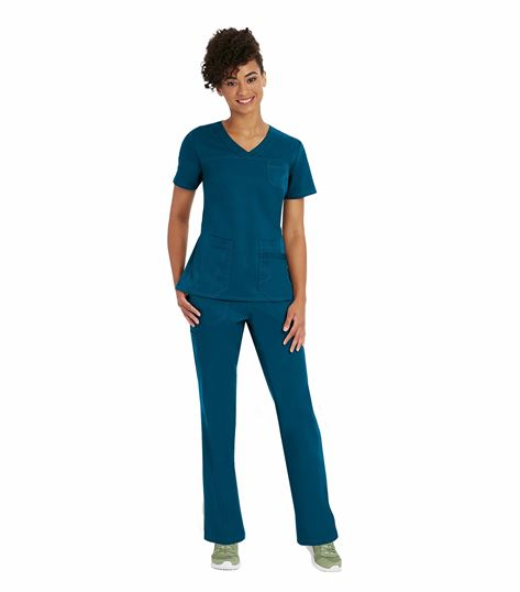 Barco NRG Women's 4 Pocket V-Neck Solid Scrub Top-3167