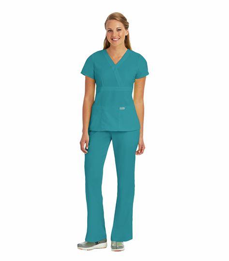 Grey's Anatomy 3 Pocket Mock Wrap Top 4153