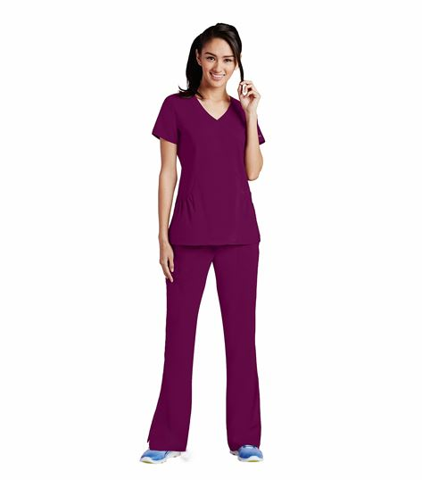 KD110 Women's Fashion Mock Wrap Solid Scrub Top-8105