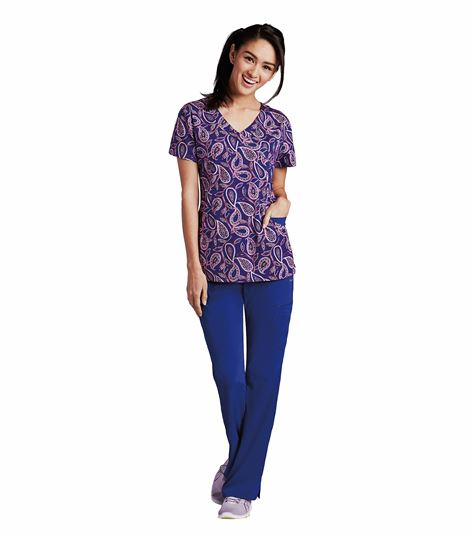 KD110 3 Pocket Printed Mockwrap V-Neck 8107