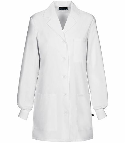 "Cherokee Women's 32"" Knit Cuff White Antimicrobial Lab Coat-1362A"