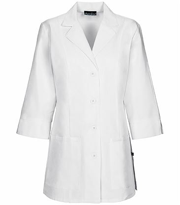 """Cherokee Women's 30"""" 3/4 Sleeve White Antimicrobial Lab Coat-1470A"""