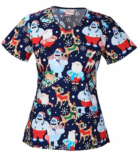 Cherokee Tooniforms Women's V-Neck Disney Character Scrub Top-6802C