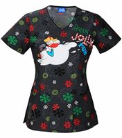 Cherokee Tooniforms Women's Frosty Snowman Christmas Scrub Top-6802CB