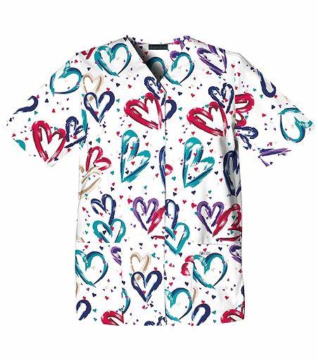 Cherokee Basics Women's Snap Up Heart Print Tunic Scrub Top-1750