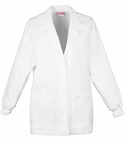 "Cherokee Women's 30"" White Lab Coat With Knit Cuffs-1302"
