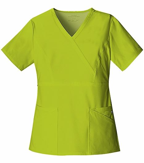 Cherokee Perfect Stretch Women's Solid Mock Wrap Scrub Top-1939