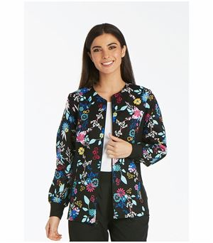 Cherokee Flexibles Women's Zip Up Printed Scrub Jacket-2301 (You Petal Believe It - XXXXX-Large)