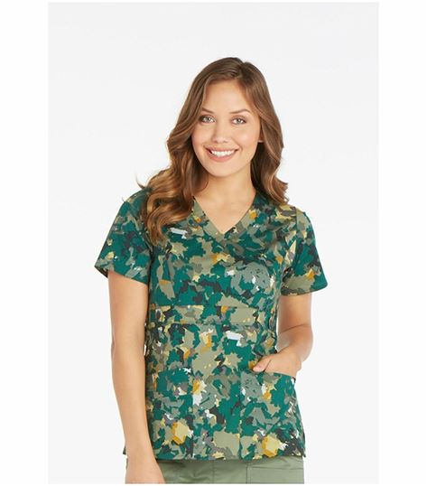 Dickies GenFlex Women's Printed Mock Scrub Wrap Scrub Top-82724
