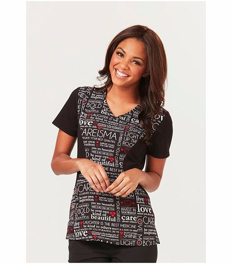 Careisma Women's V-Neck Print Scrub Top-CA613