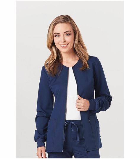 Code Happy Women's Zip Front Warm-up Scrub Jacket-CH312A
