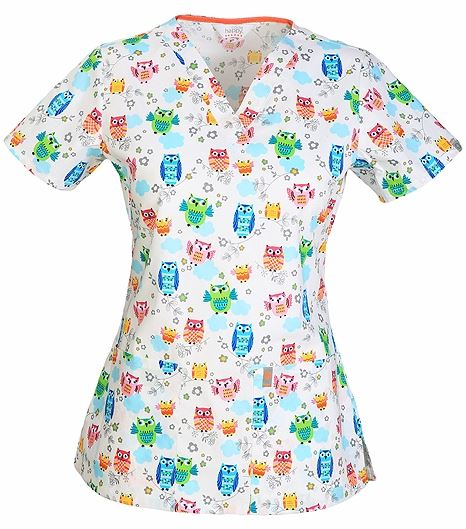 Code Happy Women's  V-Neck Print Scrub Top-CH612X14A