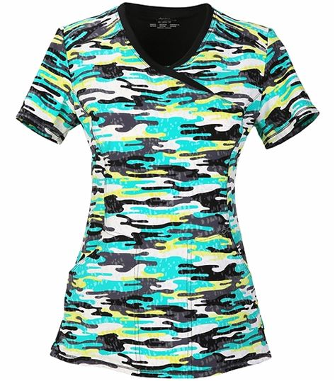 Cherokee Women's Camo Mock Wrap Antimicrobial Scrub Top-CK608X3A