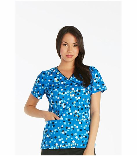 Cherokee Women's Mock Wrap Print Scrub Top-CK614