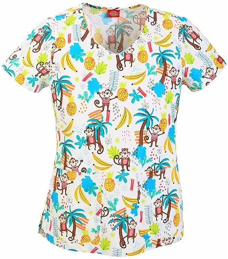 Dickies EDS  Women's V-Neck Monkey Scrub Top-DK700X10