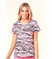 HeartSoul Women's Mock Wrap Print Scrub Top-HS602