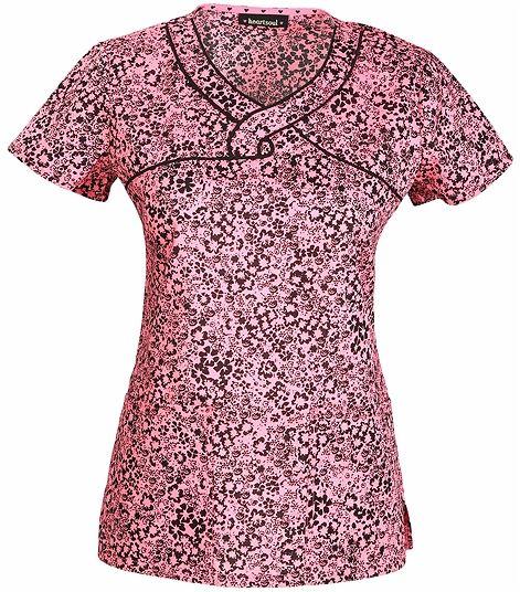 HeartSoul Women's Mock Wrap Print Scrub Top-HS602X8