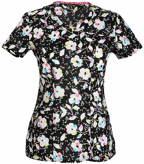 HeartSoul Women's Mock Wrap Floral Scrub Top-HS611X8