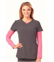 HeartSoul Women's Houndstooth Long Sleeve Underscrub Tee-HS612