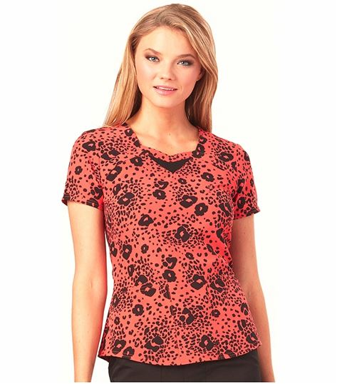 HeartSoul Women's Sweetheart Neck Print Scrub Top-HS616