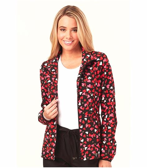 HeartSoul Women's Print Hooded Warm-Up Scrub Jacket-HS618