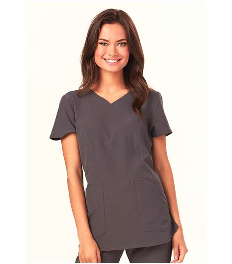 HeartSoul Cross My Heart Solid Mock Wrap Scrub Top-HS619