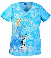 Tooniforms Disney Women's Frozen V-Neck Scrub Top-TF603XB5