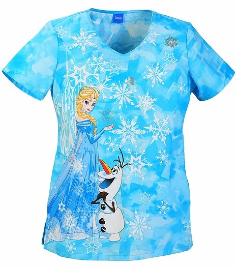 Tooniforms Disney Women's Frozen V-Neck Scrub Top-TF603XB5