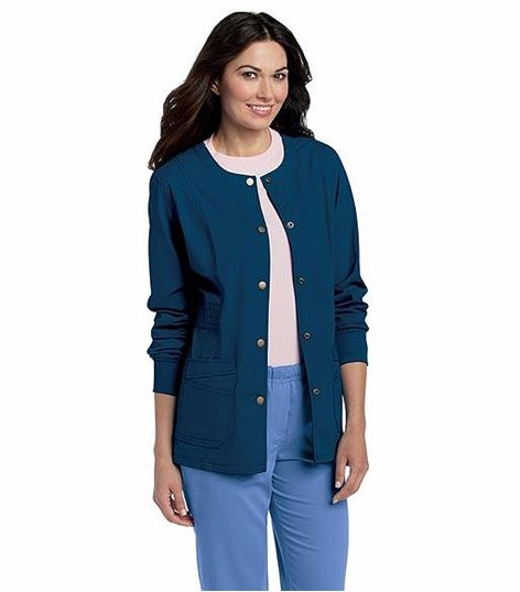 Landau Women's Snap Front Warm-Up Scrub Jacket-3035