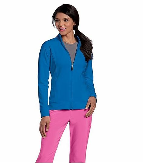 "Urbane Women's ""P-TECH"" Zip Up Warm-Up Scrub Jacket-9872"