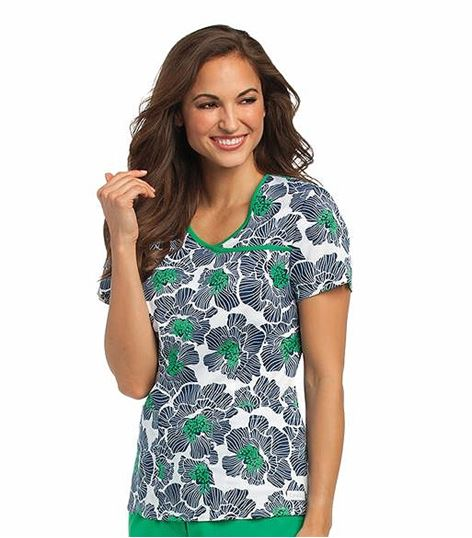 Landau Women's Printed Crossover Mock Wrap Scrub Top-4120