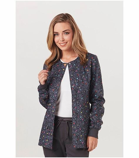 Code Happy Women's Print Warm Up Scrub Jacket-CH300A