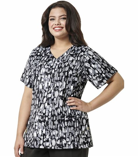 WonderWink PLUS Printed Curved V-Neck Top 6115