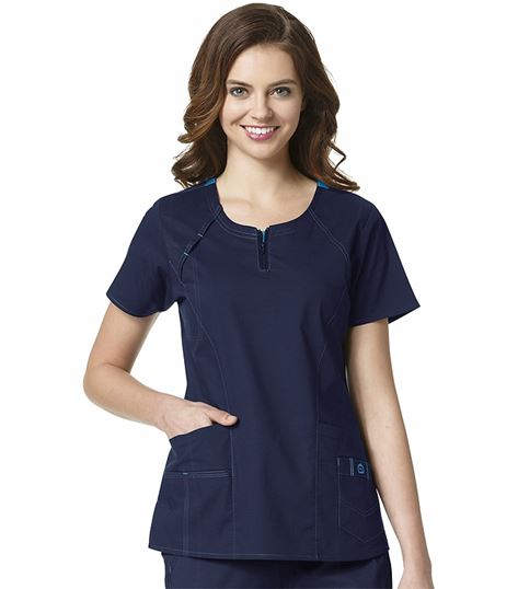 Wonderwink WonderFLEX Women's Round Neck Zip Scrub Top-6408