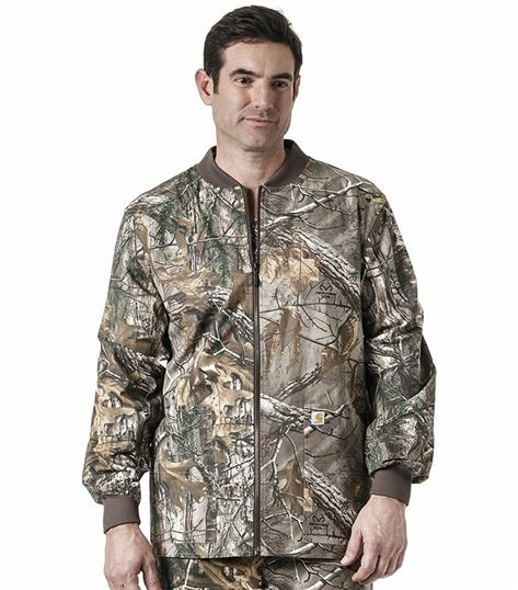 Carhartt Men's Zip Up Camouflage Print Warm-Up Scrub Jacket-C85405