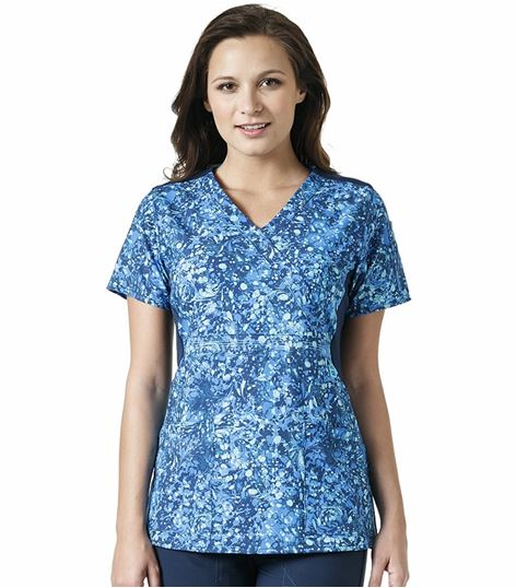 Carhartt Women's Printed Mock Wrap Empire Waist Scrub Top-C12314