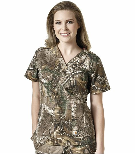 Carhartt Women's Camouflage Print V-Neck Scrub Top-C12405