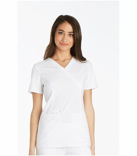 Cherokee Iflex Women's Mock Wrap Solid Scrub Top-CK619