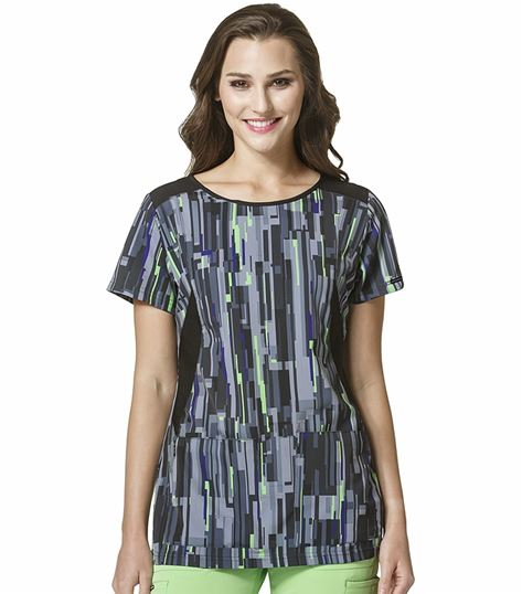WonderWink HP Women's Scoop Neck Printed Scrub Top-6207
