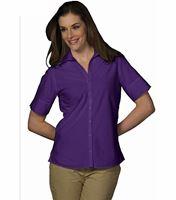 Women's Poplin Short Sleeve Blouse EW5245