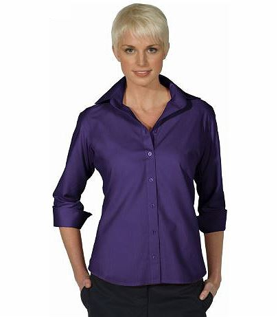 Women's Poplin 3/4 Sleeve Blouse EW5040