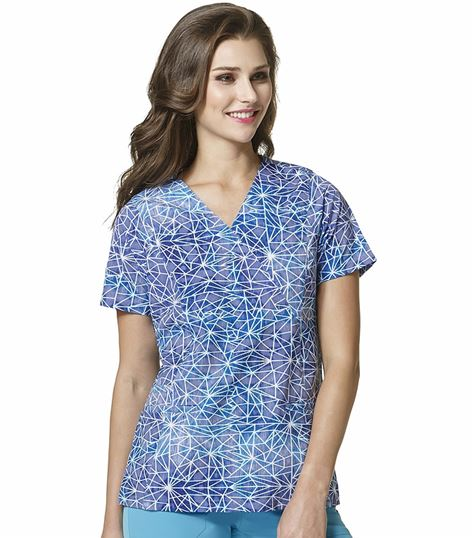 WonderWink HP Women's Mock Wrap Printed Scrub Top-6317