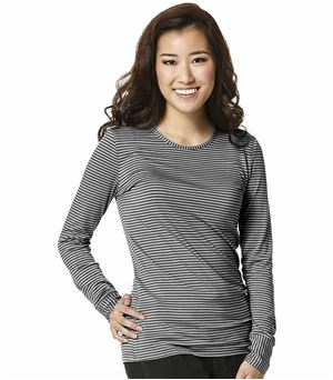 WonderWink Layers Women's Long Sleeve Striped Underscrub Tee-2079 (Black/pewter - Large)
