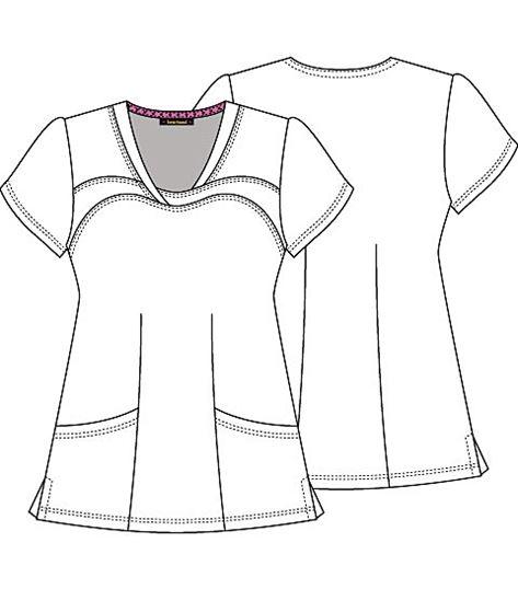 HeartSoul Women's V-Neck Print Scrub Top-HS600